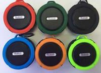 mini bluetooth hoparlör pili toptan satış-2018 yeni Bluetooth 3.0 Kablosuz Hoparlörler Su Geçirmez Duş C6 Hoparlör ile 5 W Güçlü Sürücü Uzun Pil Ömrü birçok renkler