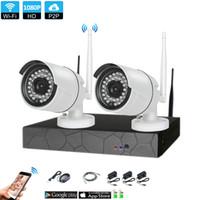dvr güvenlik kamera sistemi açıkhdd toptan satış-Tak ve Çalıştır 2CH 1080 P HD Kablosuz NVR Kiti P2P Kapalı Açık IR Gece Görüşlü Güvenlik 2.0MP IP Kamera WIFI CCTV Sistemi