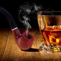 pipas de tabaco de ébano al por mayor-Conjunto de fumar Ebony Wood Smoking Pipe Hecho a mano Brown Tobacco Pipe 14cm Wood Pipe Classic Bent Pipes Regalo Cigarro Cigar Tube