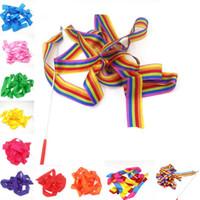 cintas de gimnasia al por mayor-400 cm Rainbow Dance Rhythm Ribbon Gym Gymnastics Art Ballet Streamer con varilla giratoria 10 colores C5121