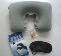 Wholesale travel kit eye resale online - Three Pieces Of Travel Air Pillow Ear Plug Eye Mask Kit Set Inflatable Shape Pillows Cushion Neck Rest Camping Flight xh dd