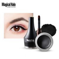 maquillaje de halo negro al por mayor-Mágico Halo 2Color Waterproof Eyeliner Gel de maquillaje Smooth fácil de usar Black Brown Color Pigmento Eyebrow Enhancer Cream con cepillo E17005