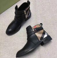 Wholesale handmade stitch resale online - Luxury women s booties new handmade plaid fabric leather stitching comfort wild flat buckle British Martin boots