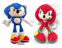 Wholesale Cups Video - 18CM Cartoon Sonic The Hedgehog Plush Stuffed Toy Doll Blue Shadow Sonic Doll With Suction Cup 10PCS