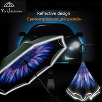 Wholesale fluorescent strip lighting - New Fifth Generation Reverse Umbrella Double Layer Inverted Parasol Rain Women Strong Windproof Fluorescent Strips Paraguas Men