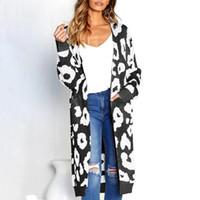 72d82e36fa black open knit cardigan Australia - leopard print long cardigans winter  clothes women open stitch autumn