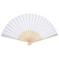 веерный шелковый вентилятор оптовых-12 шт ручной вентиляторы белый шелковый бамбук складные вентиляторы ручной сложить вентилятор для церкви свадебный подарок, партия выступает, DIY Decoratio