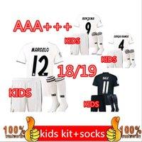 Wholesale football babies - factory Outlet Real madrid KIDS football jersey RONALDO Away 2018 KROOS Home white 2019 BOY RAMOS ISCO MODRIC 2019 Jerseys baby Ninos