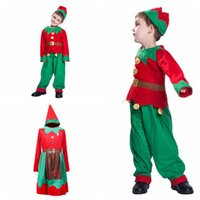 Wholesale elf clothes online - Baby Xmas Outfits Boys Girls Christmas Elf with Headband Sets Autumn Boutique Kids Cosplay Home Clothing Sets sets OOA5846