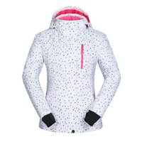 chaqueta punteada al por mayor-Dots printing White Ski Jacket Mujeres Resistente al agua Transpirable Winter Walk Chaqueta de esquí Thermal Snowboard Coat Female