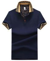 için düğmeler toptan satış-Erkek Kısa Kollu Yaka Boyun T-shirt Yaz Nefes Düğme Kazak T-shirt Erkek Patchwork Tops Tees Giyim Artı Boyutu M-5XL