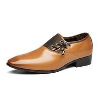 mocasines de vestir de cuero para hombres al por mayor-Diseñador de la marca zapatos de cuero para hombre vestido formal italiano mocasines hombres talón plano puntiagudo con cordones zapatos casual dereby