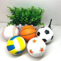 Wholesale kids toy basketballs resale online - Squishy Slow Rising Decompression Venting Toys Kawaii Football Basketball Squishies Squeeze Relaxed Tools High Quality hz X
