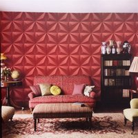 Wholesale moisture meter paper - Television Background Living Room Restaurant Wall Sticker 3D Home Imitation Leather KTV Wallpaper Easy Clean Red Pure Color 40tn bb