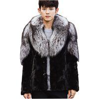 ingrosso giubbotto nero rivestimento volpe-Uomini Nuovo Inverno Nero Moda Luxury Faux Fur Coat Fox Fur Turn-Down Collar Completo Cappotto Uomini Giacca taglia S-5XL
