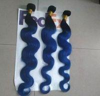 ses türevi malezya örgüsü toptan satış-9A Malezya Vücut Dalga 3 Paketler Mavi Ombre Saç Rengi Iki Ton İnsan Saç Uzantıları Ombre Saç Dokuma
