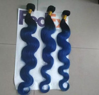 tom de cabelo ombre malaio venda por atacado-Onda Do Corpo Malaio 9A 3 Pacotes Ombre Cabelo Azul Cor Dois Tons Extensões Do Cabelo Humano Ombre Cabelo Tecelagem