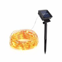 ingrosso arredamento per giardino-10M 20M filo di rame Solar LED String lampada Fairy Holiday Light Strip Decor Garden Prato Wedding X'mas Party Ambiance light