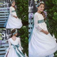 vestidos de baptizado para meninas sash venda por atacado-2019 Nova Chegada Flor Meninas Vestidos Branco Da Jóia de Tule Laço De Cetim Arco Sash Applique Batizado Vestidos Formais