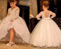 Wholesale Cheap Pretty Wedding Dresses - 2018 Pretty Long Sleeve Flower Girl Dresses For Weddings Lace Appliqued Little Baby Ball Gowns Cheap Custom Made New Communion Dress