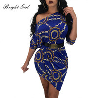 Wholesale sexy clothing for female for sale - BRIGHT GIRL Women Sexy Dress Summer Causal Dresses For Ladies Chain Print Slash Neck Dress Mini Party Vestidos Female Clothes