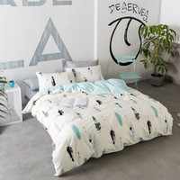 ingrosso lune stelle letto in cotone-Svetanya Feather Printing Lenzuola Lenzuola Federa Copripiumino 100% cotone Single Queen Full Double Size