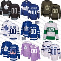 53afd2878 2018 Custom Toronto Maple Leafs mens womens youth kids White Green camo  green Royal Blue Hockey Jersey 91 John Tavares with C Patch Stitched