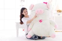 ingrosso roba grande gioca valentines-Bambola grande del giocattolo della peluche del maiale bianco grande di grandi dimensioni Cuscino del cuscino dell'animale farcito di grande colore rosa Regali di San Valentino