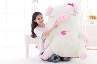 gros jouets saint valentin achat en gros de-Grande Taille Beau blanc de porc en peluche Poupée Big Pink peluche oreiller animal Coussin Cadeaux Saint Valentin