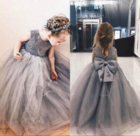 Wholesale grey bow dress - 2018 Grey Lace Appliques Tulle Puffy Ball Gown Flower Girl Dresses Girls Pageant Gowns Vintage Communion Dress Big Bow Back Custom Made