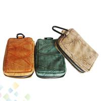 braune leder zigarette großhandel-Stil Tasche Carring Pouch Box Portable Leder Carrry Fall Blau Braun Gelb Handtasche Tasche Vape Halter für E Zigarette DHL Frei