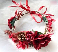 Wholesale hair weave braid accessories online - Girls red wreath kids simulation pine cones berries flowers crown chirstmas party hair accessories child rattan weaving princess garlands F1