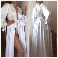 New Fashion Sexy White Night Robe Bathrobe Pyjamas Wedding Bride Bridesmaid Robes Dressing Gown For Women Pajamas Nightdress