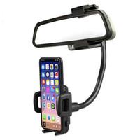 зеркало заднего вида gps оптовых-Универсальный 360° автомобиль зеркало заднего вида держатель подставка держатель для сотового телефона GPS сотовый телефон крепления держатели