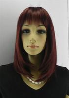 pelo burdeos naranja al por mayor-Mujeres de luz recta recta corta Burdeos color cur Peluca de luz sintética real naranja Borgoña pelo corto Cosplay Party Anime Hair Wigs