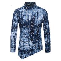 модные платья оптовых-Men Paisley Dress Shirt 2018 Fashion Personality Oblique Button Irregular Shirt Men Hip Hop Casual Henley Shirts Male Camisas