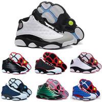 лучшие цены кроссовки оптовых-[С коробкой] мужская баскетбольная обувь XIII 13 разводят черный истинный Красный скидка спортивная обувь спортивная кроссовки Лучшая цена кроссовки обувь