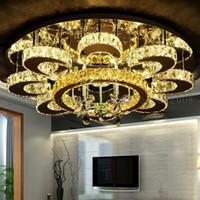 ingrosso luci a soffitto cristallo-New Simple LED Flower K9 Crystal Round Plafoniere Luci di lusso Illuminazione per camera da letto Soggiorno Studio Room Villas Restaurant Hotel
