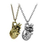 Wholesale human heart halloween - Anatomical Human Organ Heart Necklace Pendants Fashion jewelry for Men Women Halloween Gift Drop Ship 160549