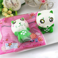 Wholesale cat doll diy for sale - 11 CM Green Cat Squishy DIY Releasing Stress Animal Doll Funny Slow Rising Soft Squeeze PU Squishies Cute cy BR