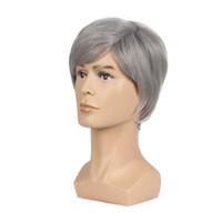 ingrosso parrucche realistiche dei capelli-Parrucca piena sintetica a 6 pollici con parrucca sintetica per uomo Parrucca maschile Fleeciness Realistic Silver Mix Natural Full Wigs