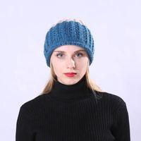 en iyi örme şapkalar toptan satış-Kadın Kızlar Kış Sıcak Pom Poms Beanies Kap Kalın Örme Açık Şapka En Iyi Satış-WT