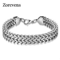 Wholesale 12mm lobster clasps resale online - ZORCVENS Drop Shipping Mens Wristband mm Wide L Stainless Steel Double Side Chain Lobster Clasp Men Bracelet Jewelry Gift