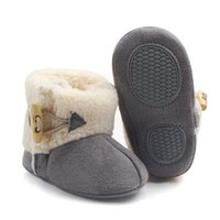 Wholesale crochet snow boots - 3 Pairs lot Winter Non-slip Baby Shoes Bebe Buckle Strap Ankle Snow Boots Warm First Walkers Infant Crochet Fleece Baby Shoes