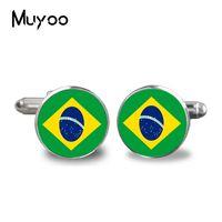 ingrosso migliori gemelli della moda uomo-Gemelli da uomo con bandiera brasiliana personalizzata da matrimonio. bracciale Boys Honor Gift Il meglio deve ancora invecchiare con me