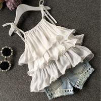 ingrosso vestiti di loto-Top in chiffon Shorts Tute Bambina in due pezzi Set di vestiti Lotus Leaf Lace Beads Shorts in denim con fiore 3-8T