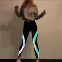 mädchen tanzhose groihandel-1 Stück reflektierende Leggings im Dunkeln leuchten Night Light Side Streifen Shiny Sport Yoga Hosen tanzen Strumpfhosen Sportswear für Frauen Mädchen