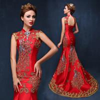 vestidos de noite de anfitrião venda por atacado-Overseas Chinese Luxo Azul Vermelho Bordado Chinês Vestido de Noite Longo Cheongsam Casamento Da Noiva Qipao Sereia Anfitrião Vestidos Oriental Qi Pao