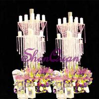 акриловые подставки для центральных частей оптовых-яркие акриловые столовые центральные украшения для свадебных украшений, подставка под элегентный дизайн для цветов, хрустальная люстра из акрила в продаже