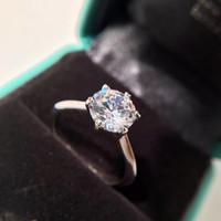 bijoux simples en diamant achat en gros de-Réel 925 Sterling Silver CZ Diamant BAGUE avec LOGO conception simple pour la Bague De Mariage De Fiançailles Bijoux pour Femmes PS5461